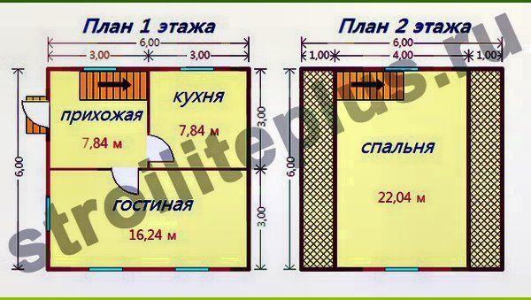 двох поверховий каркасний будиночок 6х6