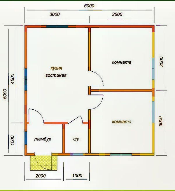 одноповерховий каркасний будинок з тамбуром 6х6