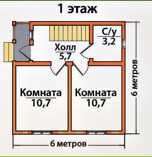 внутрішнє планування каркасного будинку 6х6