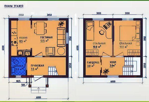 проект КД-17 (каркасний будинок) 6х6