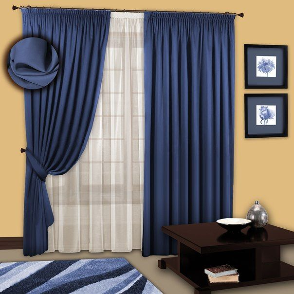 Красиві сині штори як основа унікального інтер`єру