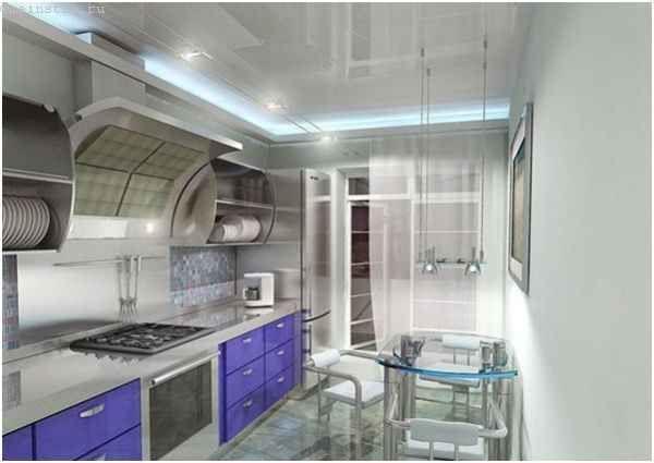 Натяжні стелі для кухні - всі деталі витяжки та труби заховані