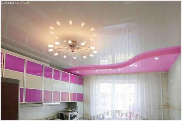 Натяжні стелі для кухні з люстрою