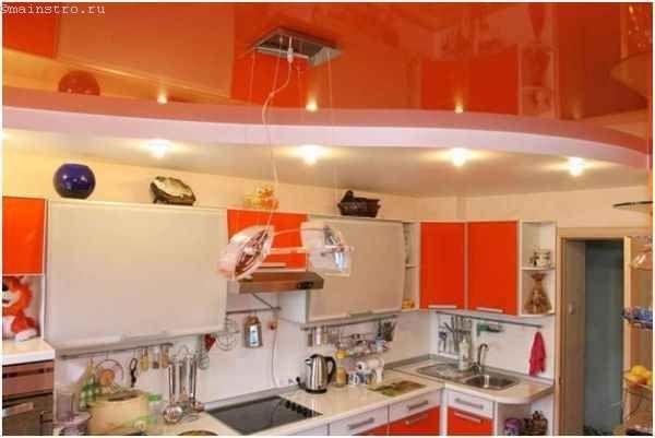 Різно фактурні натяжні стелі для кухні