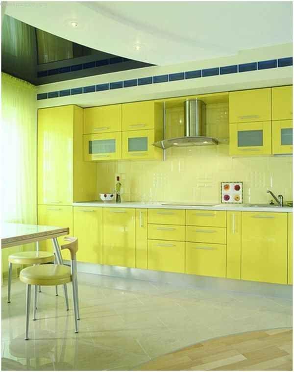 Двоколірні натяжні стелі для кухні