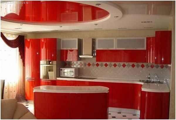 Овальний натяжна стеля на кухні