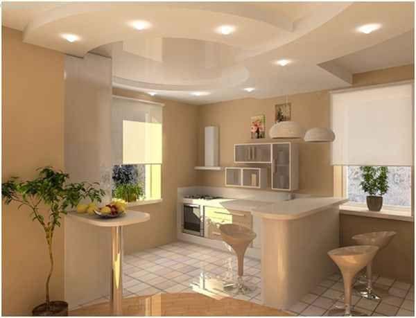 Натяжні стелі для кухні в тон до загальної забарвленням