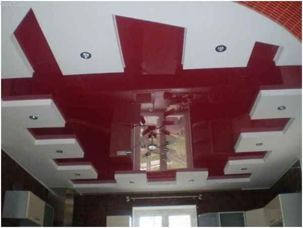 лянцевий натяжна стеля і гіпсокартонна стеля поєднуються на кухні