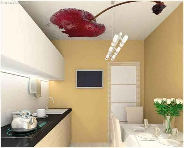 Натяжні стелі для кухні з фото соковитою вишні