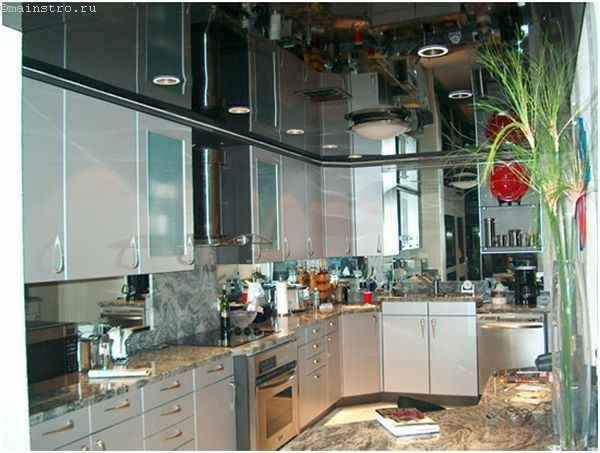 Чорні плівкові натяжні стелі для кухні