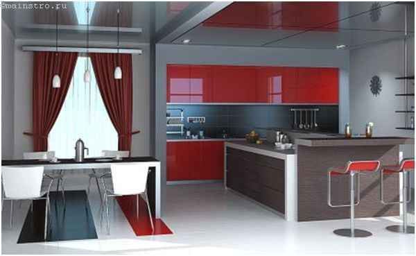 Натяжні стелі з глянсового плівки для кухні