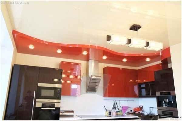 Червоні глянцеві натяжні стелі для кухні
