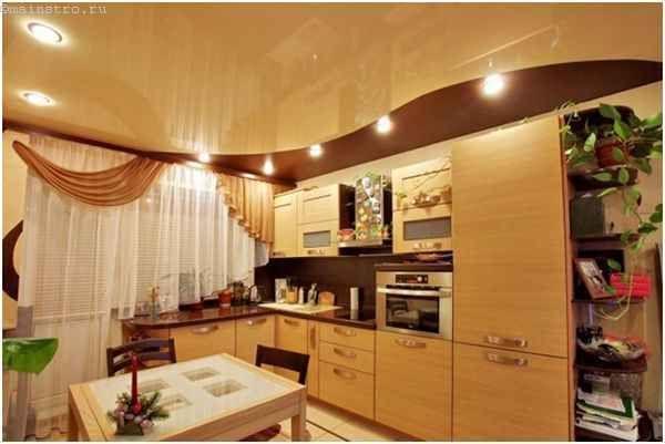 Натяжні стелі для кухні в два рівня