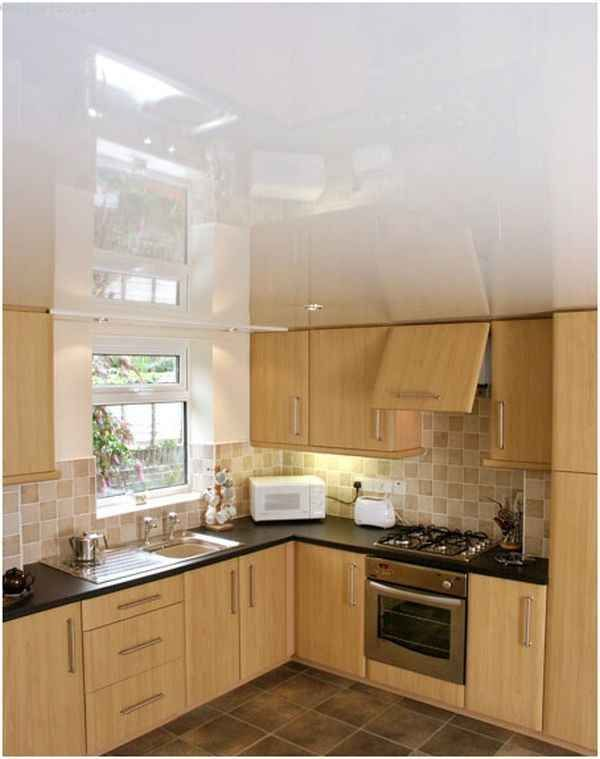 Білі натяжні стелі для кухні