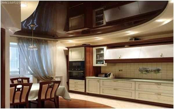 Дворівневі натяжні стелі для кухні