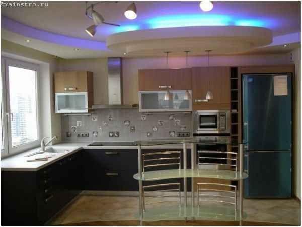 Натяжні стелі для кухні з неоновим підсвічуванням