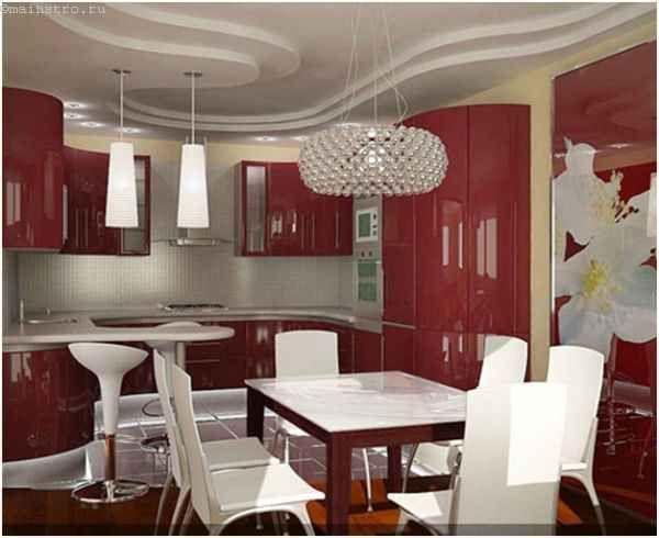 Криволінійні натяжні стелі для кухні