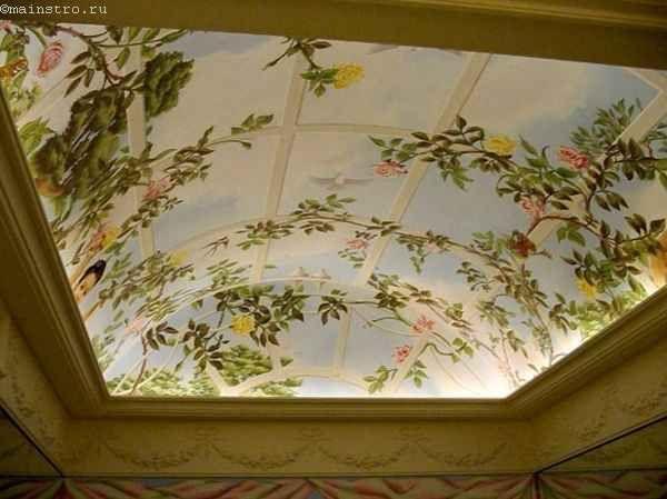 Натяжні стелі в залі з фото печаткою