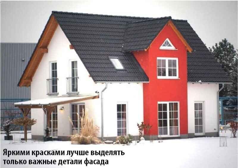 Фасад будинку в червоному і білому тонах